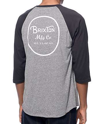 Brixton Wheeler Heather Grey & Black Baseball T-Shirt