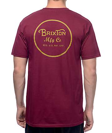 Brixton Wheeler II Burgundy T-Shirt