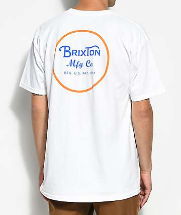 Brixton Wheeler II White & Orange Blaze T-Shirt