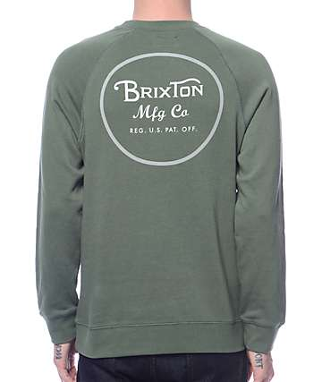 Brixton Wheeler Light Green Crew Neck Sweatshirt