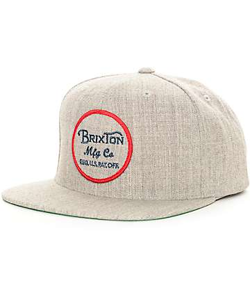 Brixton Wheeler Light Grey Snapback Hat