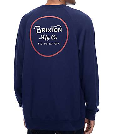 Brixton Wheeler Navy & White Crewneck Sweatshirt