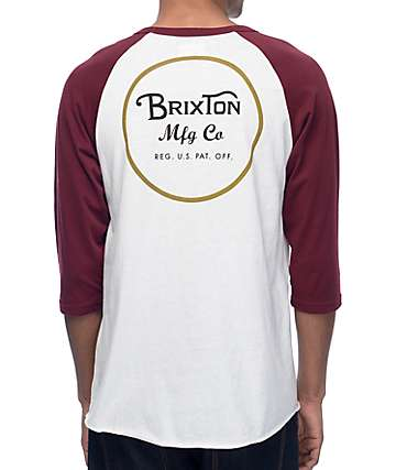 Brixton Wheeler Off White & Burgundy Baseball T-Shirt
