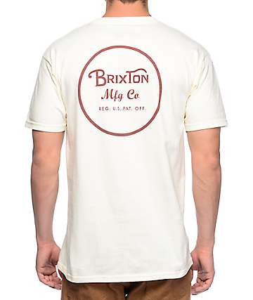 Brixton Wheeler Off White T-Shirt
