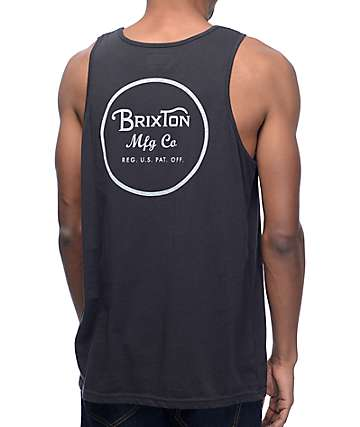 Brixton Wheeler Washed Black & White Tank Top