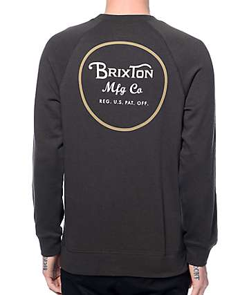 Brixton Wheeler Washed Black Crew Neck Sweatshirt
