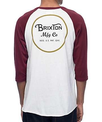 Brixton Wheeler camiseta béisbol en colores crema y borgoño