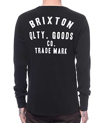 Brixton Woodburn Black Thermal Long Sleeve T-Shirt
