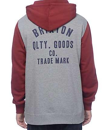 Brixton Woodburn Burgundy & Grey Hoodie