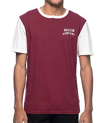 Brixton Woodburn Burgundy Henley T-Shirt