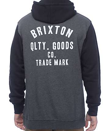 Brixton Woodburn Charcoal & Black Hoodie