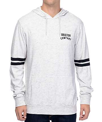 Brixton Woodburn Grey & Black Hooded Long Sleeve T-Shirt