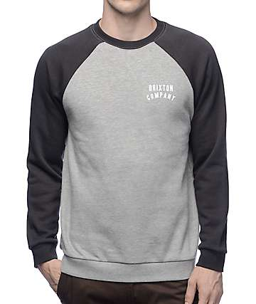 Brixton Woodburn II Grey & Black Raglan Sweatshirt