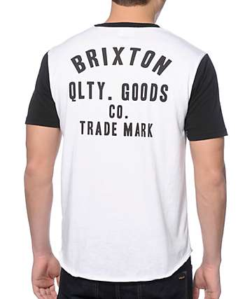 Brixton Woodburn White and Black 2 Tone T-Shirt