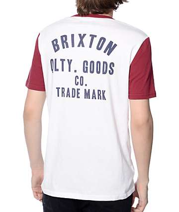 Brixton Woodburn White and Burgundy Henley T-Shirt