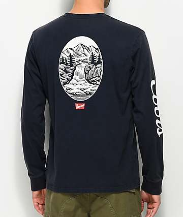 Brixton x Coors Banquet Filtered Navy Long Sleeve T-Shirt