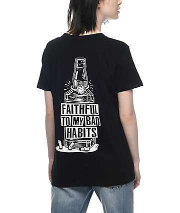 Broke & Stoked Bad Habits Black T-Shirt