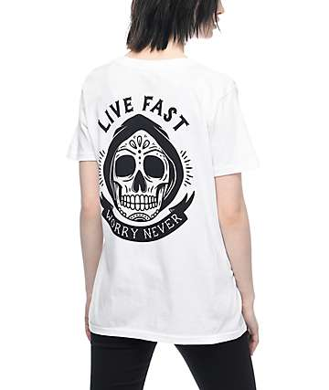 Broke & Stoked Live Fast, Never Worry White T-Shirt