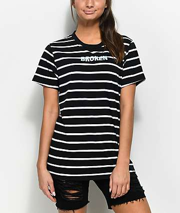 Broken Promises Black & White Stripe T-Shirt