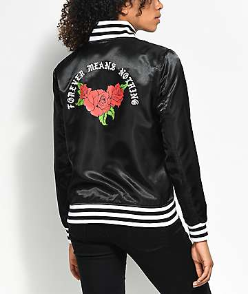 Broken Promises Forever Black Baseball Jacket