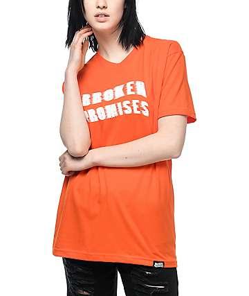 Broken Promises Scrape Logo camiseta en color naranja