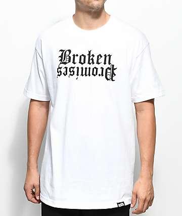 Broken Promises Slogan camiseta blanca