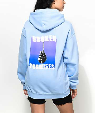 Broken Promises Stab In The Back Light Blue Hoodie