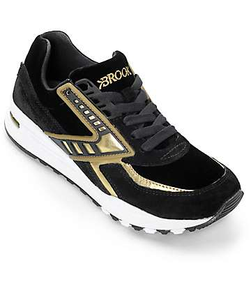Brooks Regent Imperial zapatos en negro y dorado cromado