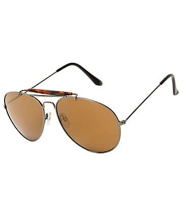 Brown Tortoise Bar Rounded Aviator Sunglasses