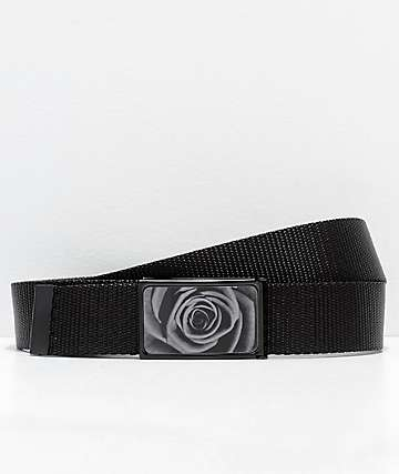 Buckle Down Black Rose Web Belt
