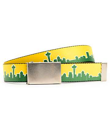 Buckle Down Seattle Green & Yellow Web Belt