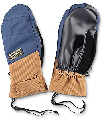 Burton Approach Navy & Brown Snowboard Mittens