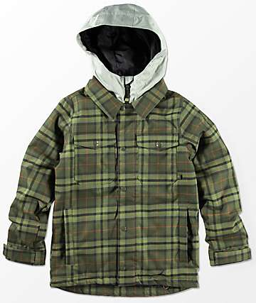 Burton Boys Uproar Forest Night Jackson Plaid 5K Snowboard Jacket