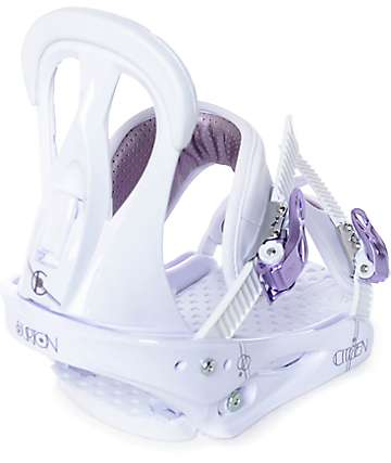 Burton Citizen Womens White & Purple Snowboard Bindings