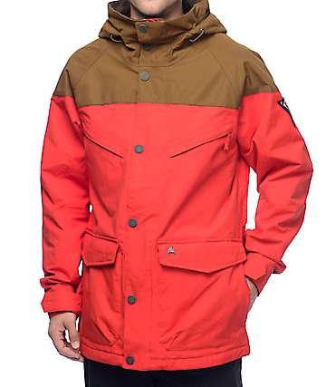 Burton Frontier chaqueta de snowboard insulada en marrón y rojo