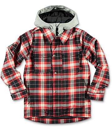 Burton Uproar Red Milk Plaid Print chaqueta de snowboard para niños