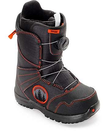 Burton Zipline botas de snowboard para niños en negro y rojo