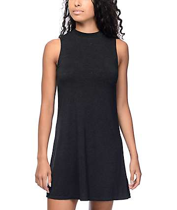 Buttercup Black Mock Neck Tank Dress