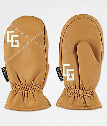 CG Habitats Game Changer Brown Leather Snowboard Mittens