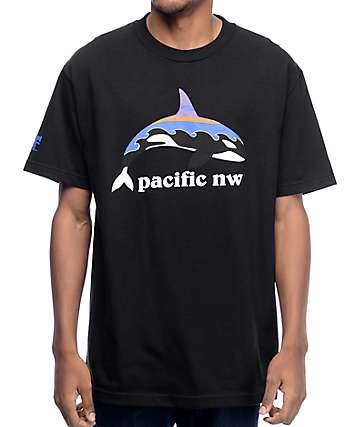 Cake Face PNW Orca Wave Black T-Shirt