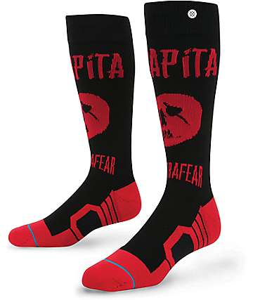 Capita x Stance Ultrafear Black & Red Snow Socks