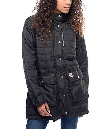 Carhartt Amoret Black Insulated Quilted Coat