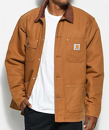 Carhartt Duck Chore Blanket Lined Brown Jacket