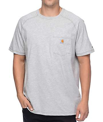 Carhartt Force Delmont Heather Grey Pocket T-Shirt