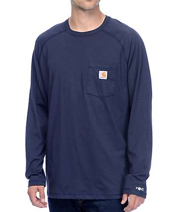 Carhartt Force Delmont Navy Long Sleeve T-Shirt