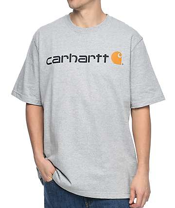 Carhartt Signature Logo Heather Grey T-Shirt