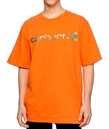 Carhartt Signature Logo Orange T-Shirt
