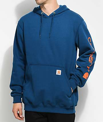 Carhartt Signature Navy & Orange Pullover Hoodie