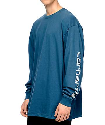 Carhartt Signature Stream Blue Long Sleeve T-Shirt