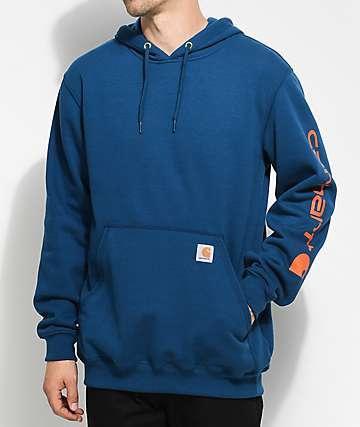Carhartt Signature sudadera con capucha en azul marino y color naranja